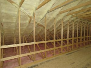 Attic insulation_Spray Foam and Fiberglass batts