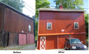 Before and After barn re roof and re side, Middlesex, NY