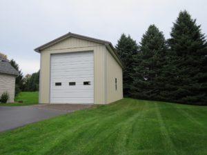 18x32x14 pole building with 1' overhangs, Light Stone siding, Gray trim_Ontario, NY